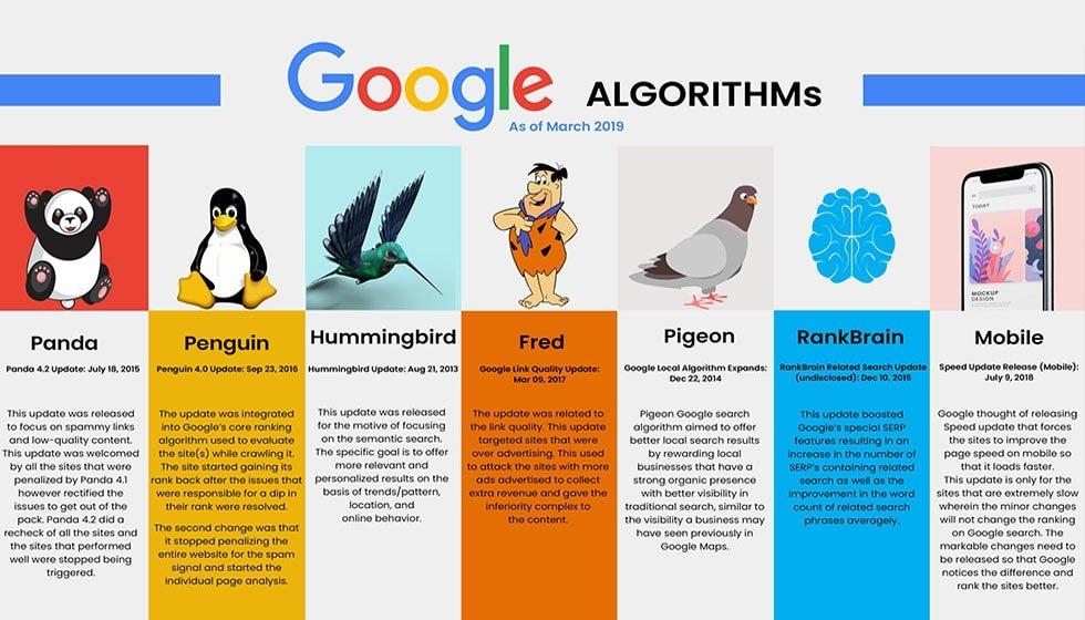 انواع الگوریتم های بهینه سازی گوگل