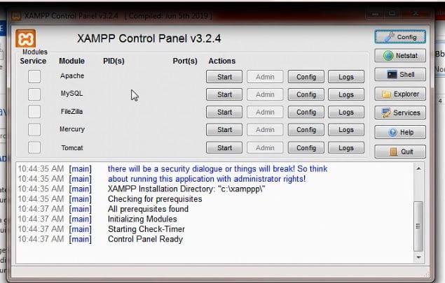 کنترل پنل xampp اجرا و استارت apache , mysql