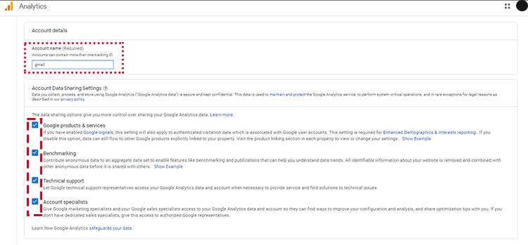 تنظیمات اکانت گوگل آنالیتیکس